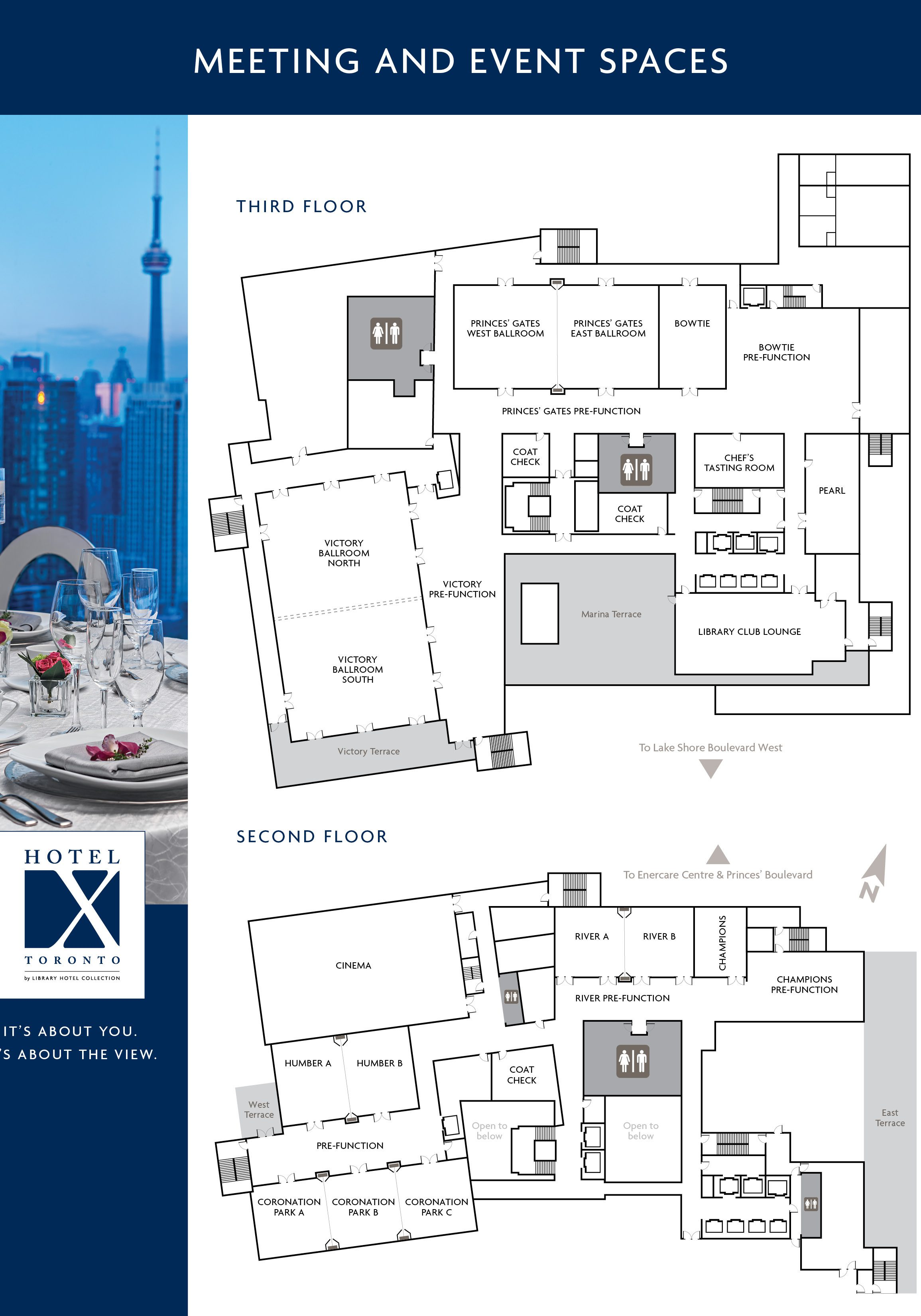 Hotel X Toronto Infographic Map of Meeting and Event Spaces