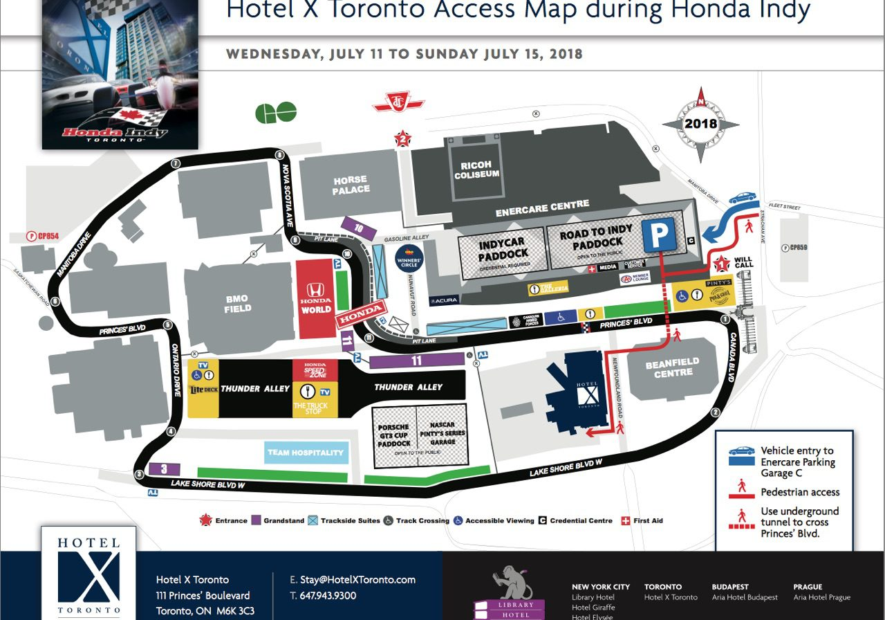 Hotel X Toronto Access Map during Honda Indy